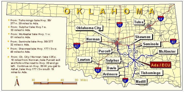 Ada Oklahoma Map Oklahoma Map